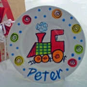Handpainted Plate - Xmas Train Plate